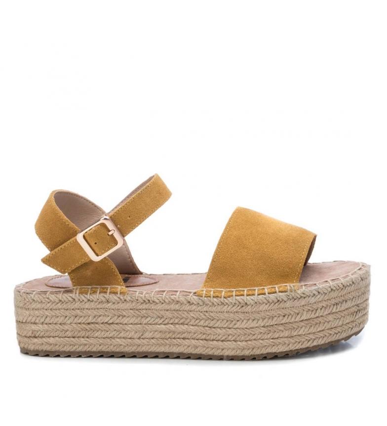 Comprar Xti Sandales en cuir 044122 jaune - Hauteur de la plate-forme : 5cm
