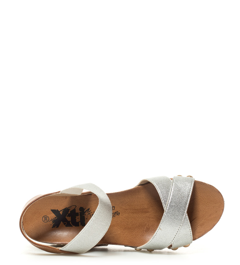 Xti Bonie Sandalias plata Xti 8cm Altura Sandalias cuña qtrwZ4t