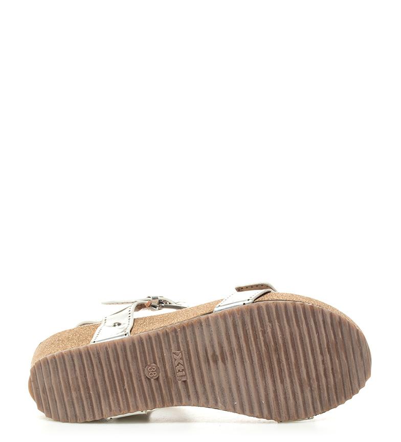 Sandalias 6cm Altura Tinas cuña plata Xti fqxF6wdf