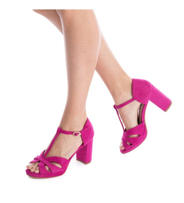 Xti-Tacco-scarpa-030743-blu-Tacco-heel-9cm-Donna-Nero-Rosso-Rosa-Tessuto miniatura 18