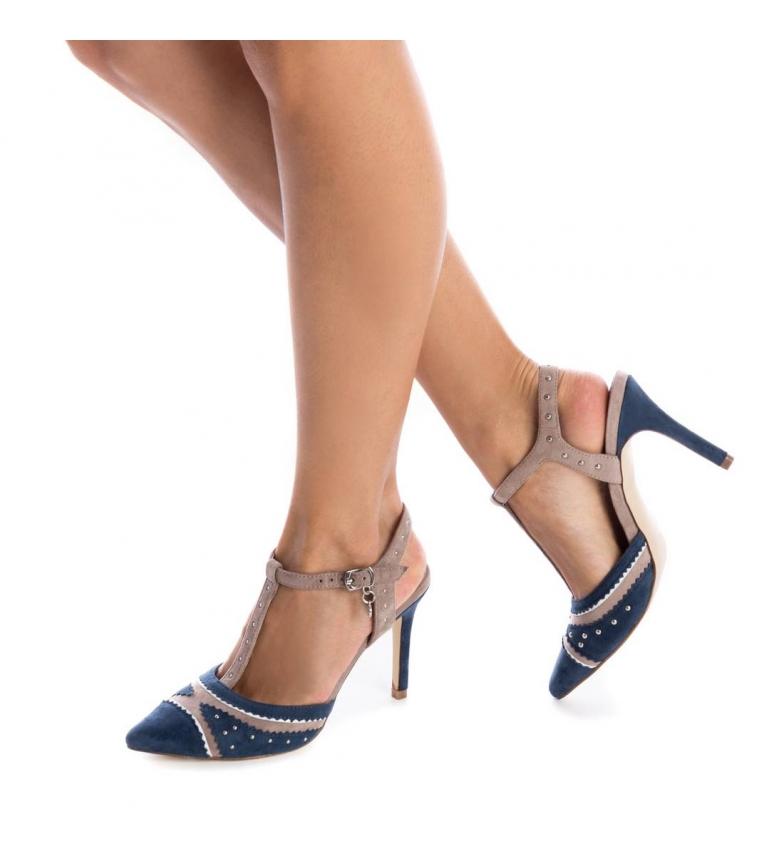 Xti-Sandali-035006-navy-Tallone-altezza-9cm-Donna-Blu-Rosa-Tessuto-8-a-10cm miniatura 3