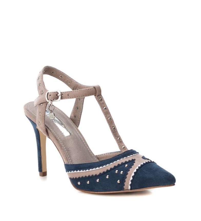 Xti-Sandali-035006-navy-Tallone-altezza-9cm-Donna-Blu-Rosa-Tessuto-8-a-10cm miniatura 4