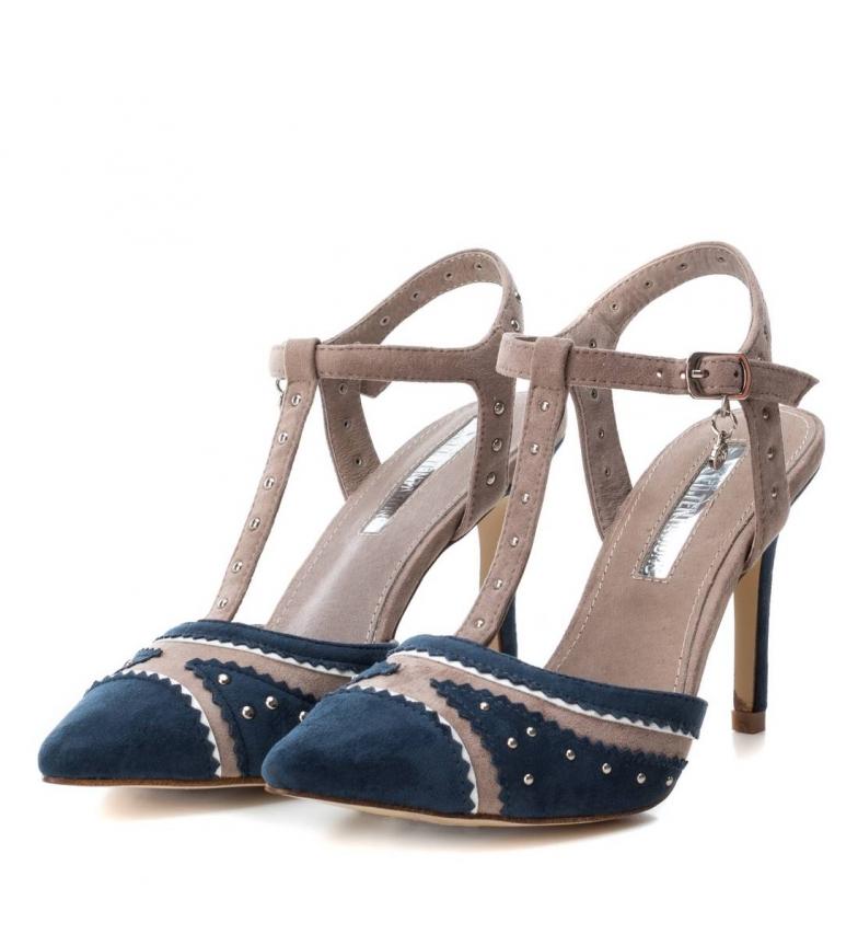 Xti-Sandali-035006-navy-Tallone-altezza-9cm-Donna-Blu-Rosa-Tessuto-8-a-10cm miniatura 6