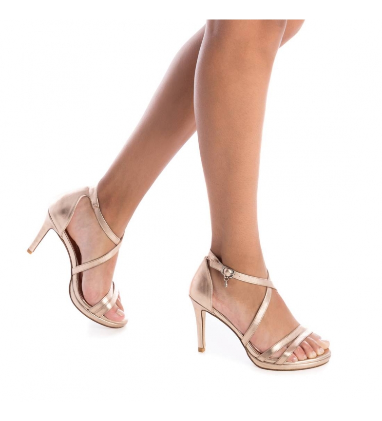 Xti-Sandali-035027-oro-Altezza-tacco-9cm-Donna-Nero-Beige-Rosa-8-a-10cm miniatura 13