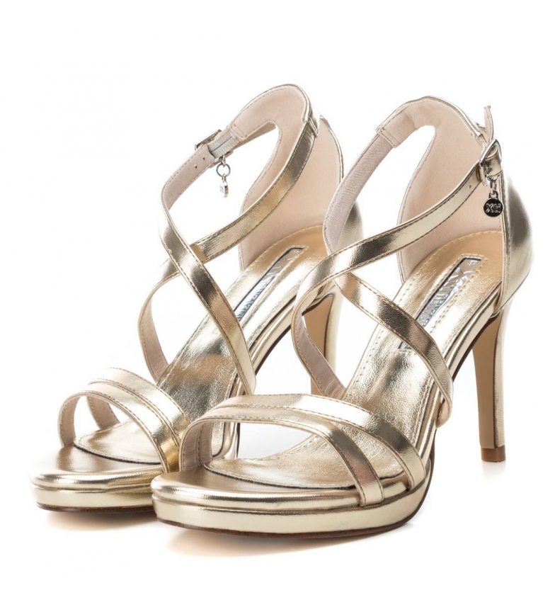 Xti-Sandali-035027-oro-Altezza-tacco-9cm-Donna-Nero-Beige-Rosa-8-a-10cm miniatura 11
