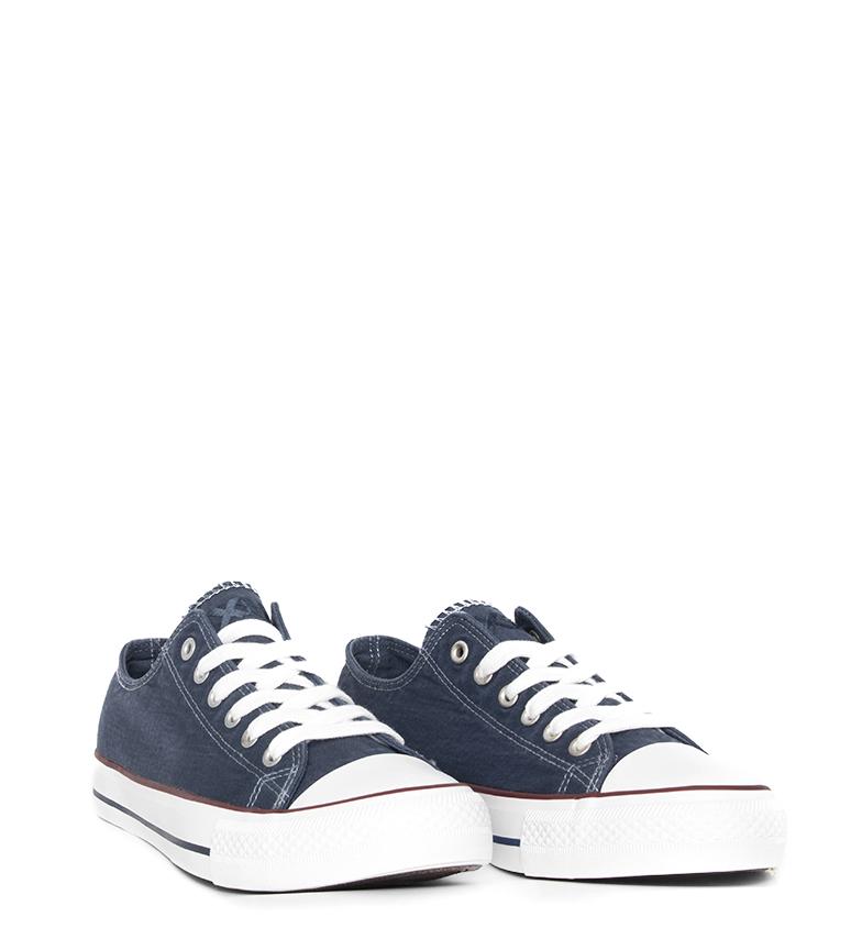 Xti-Zapatillas-Azai-negro-Hombre-chico-Blanco-Azul-Tela-Plano-Cordones-Casual miniatura 11