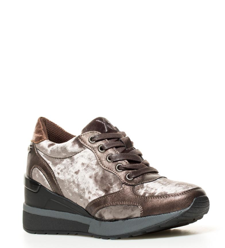 5 Xti 6cm Femme Coin Cm Sira À 8 Tissu Chaussures Velours Bronze hauteur zqwZOF6zx