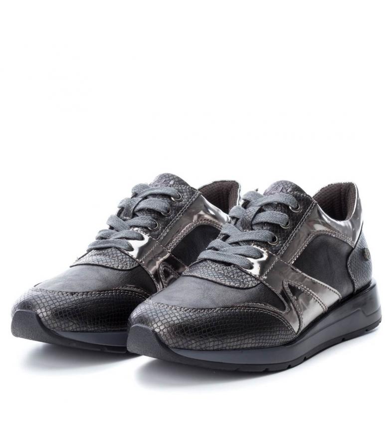 3 À 1 Chaussures Plat De Cm Selma Noir Xti Gris Femme Casuel Plomb Lacets Ygx608