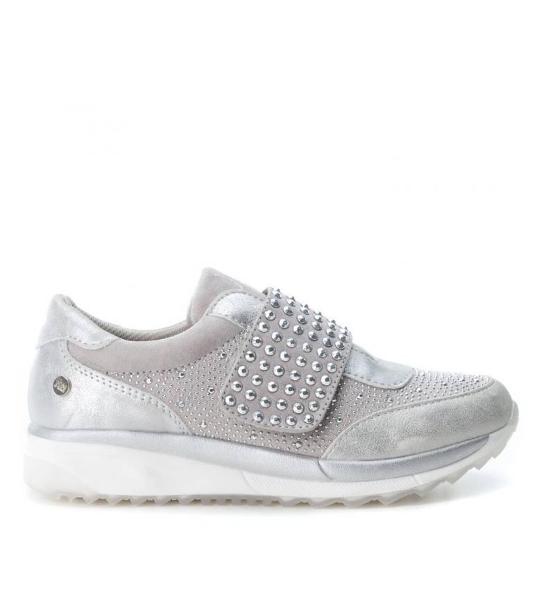 edd484d394a Xti - Zapatillas plata Mujer/chica Tela Plano 1 a 3cm 3 a 5cm Velcro ...