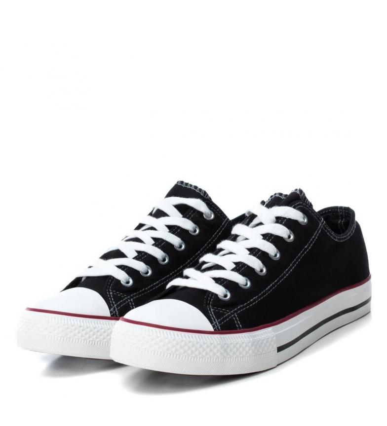 Xti-Zapatillas-Azai-negro-Hombre-chico-Blanco-Azul-Tela-Plano-Cordones-Casual miniatura 5
