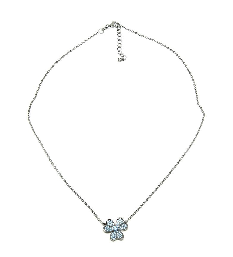 Comprar Yocari Collar Flor plata rutenio aguamarina