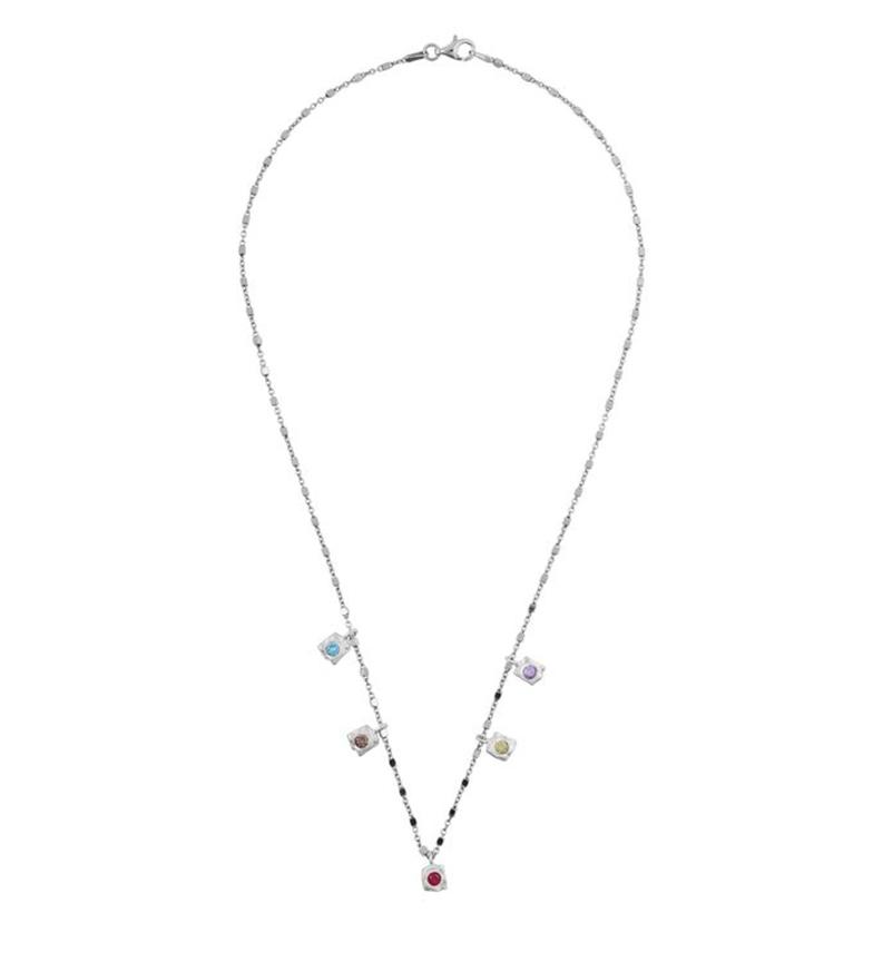 Comprar Yocari Collar Cuadrados plata rodiada multicolor