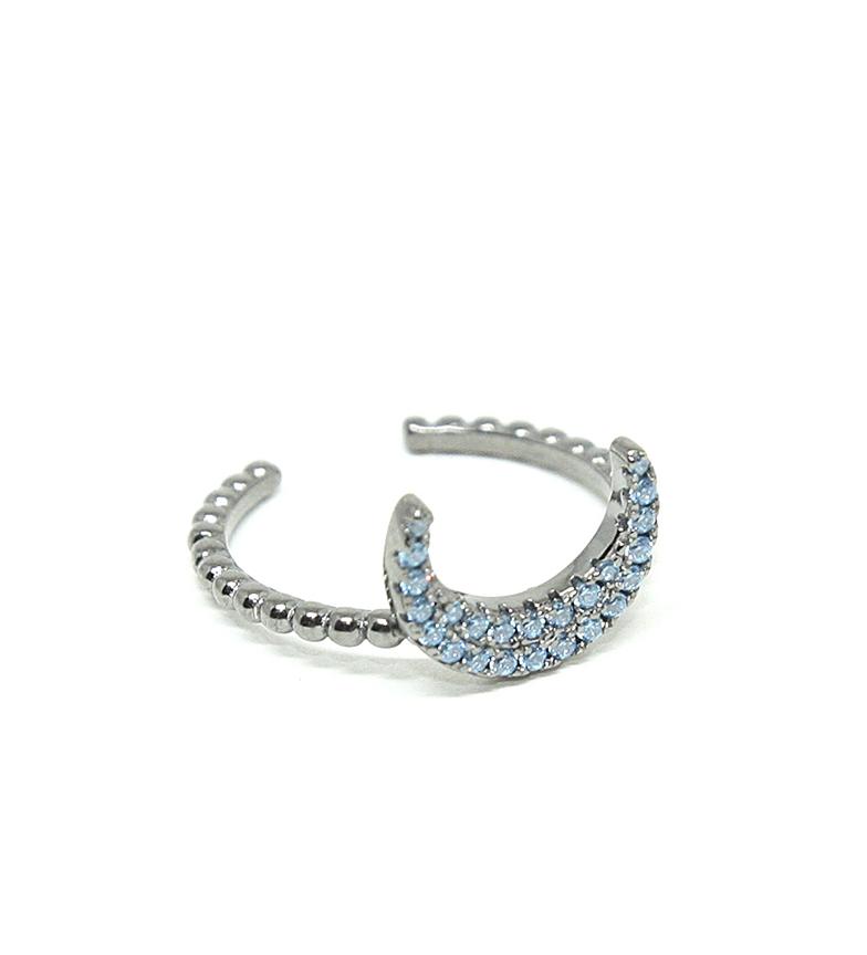 Comprar Yocari Moon ring silver ruthenium aquamarine