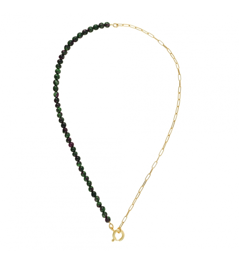 Comprar Yocari Gold Plated Silver Necklace Rectangular Chain and Green Stones