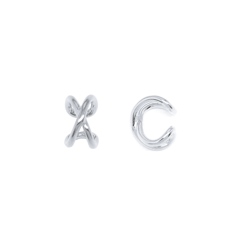 Comprar Yocari Creole Crossed Silver Earrings