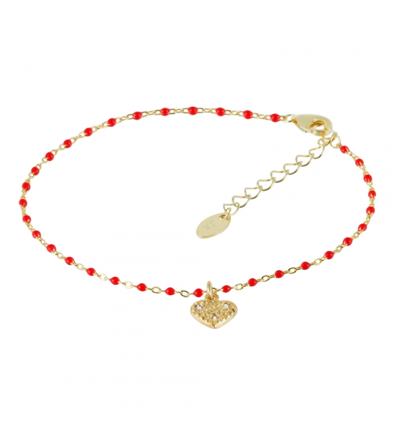 Comprar Yocari Gold Plated Rosary Heart with Red Zirconia Bracelet