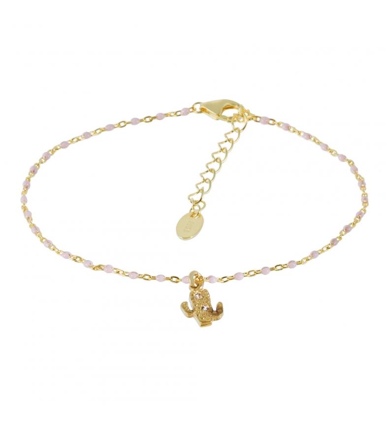 Yocari Bracelete de Cacto com Banho de Ouro Rosário com Zircões Rosa