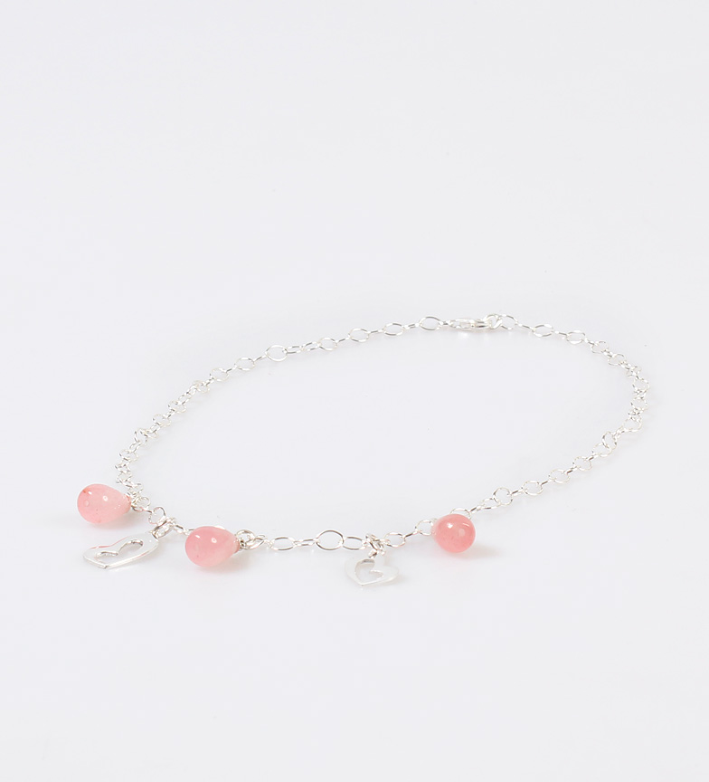Comprar Yocari Silver hearts necklace, rose quartz