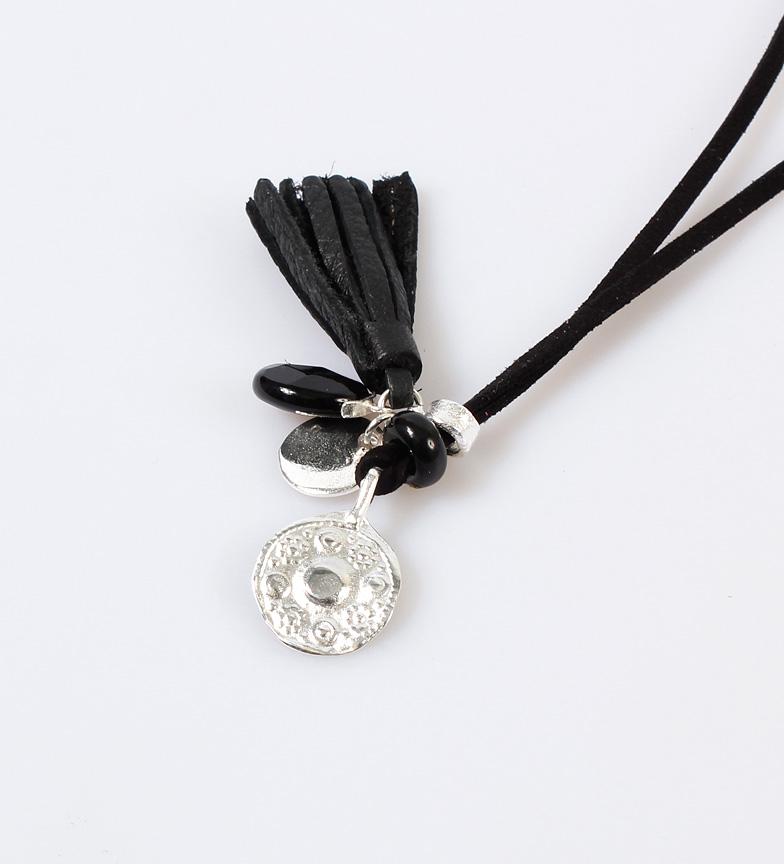 Comprar Yocari Necklace Silver medallion, onyx, suede