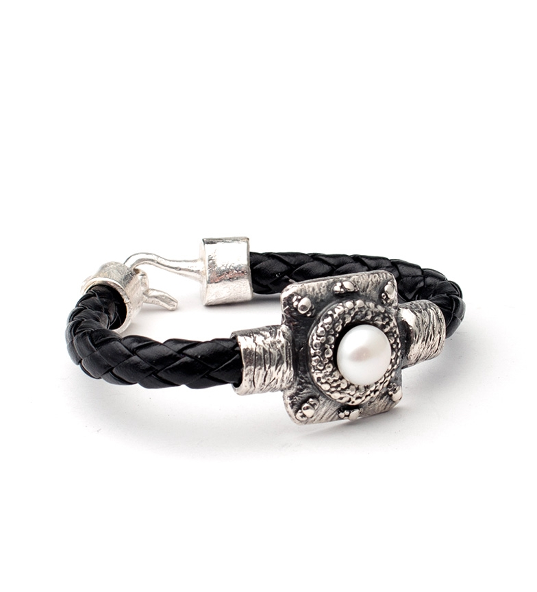 Comprar Yocari Bracciale in Egitto perla argento, pelle