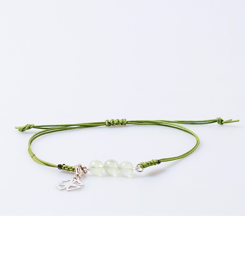 Comprar Yocari Bracelet Rosario silver, macrame, green agates
