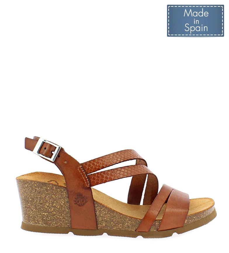 Comprar Yokono Cadiz leather sandals 087 brown - Wedge height: 5,5cm