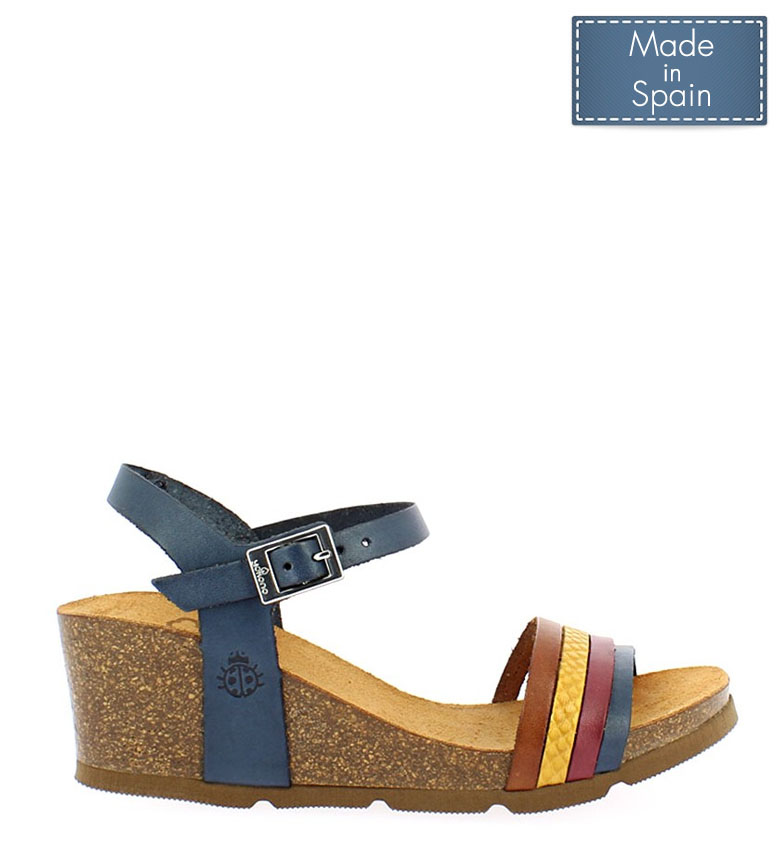 Comprar Yokono Cadiz 196 marine leather sandals - Wedge height: 5,5cm