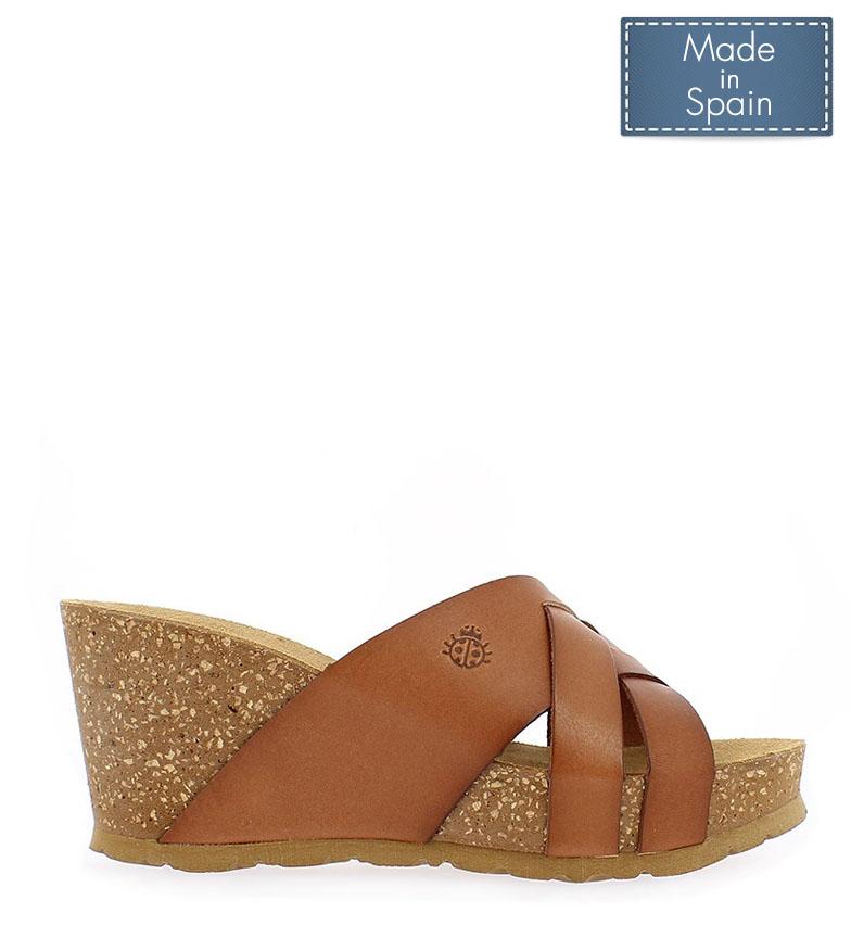 Comprar Yokono Sandalias de piel Canela 003 marrón -Altura cuña: 7.5 cm-