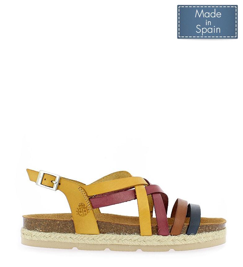 Comprar Yokono Java 057 mustard leather sandals - Platform height: 3cm