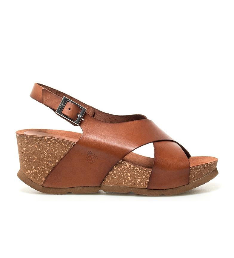 Comprar Yokono Sandalias de piel Bari 030 marrón -Altura cuña: 7cm-