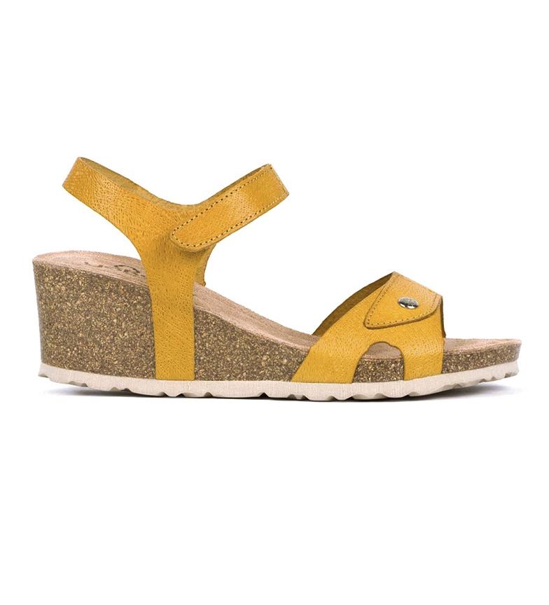 Comprar Yokono Leather sandals Cadiz 073 mustard - wedge height: 5,5cm