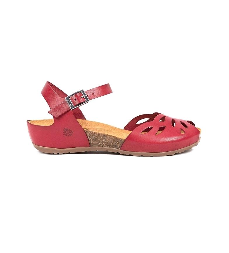 Comprar Yokono Sandalias de piel Capri 003 rojo -Altura cuña: 4cm-