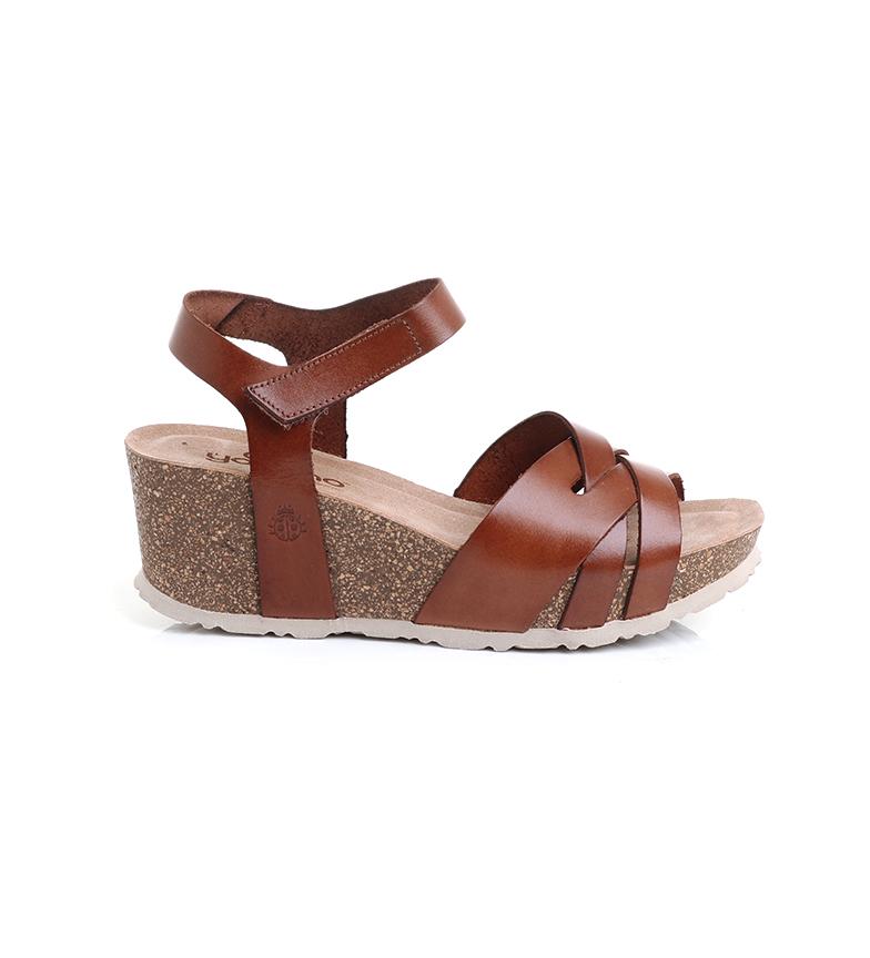 Comprar Yokono Leather sandals Mora-006 brown -Height wedge: 6 cm