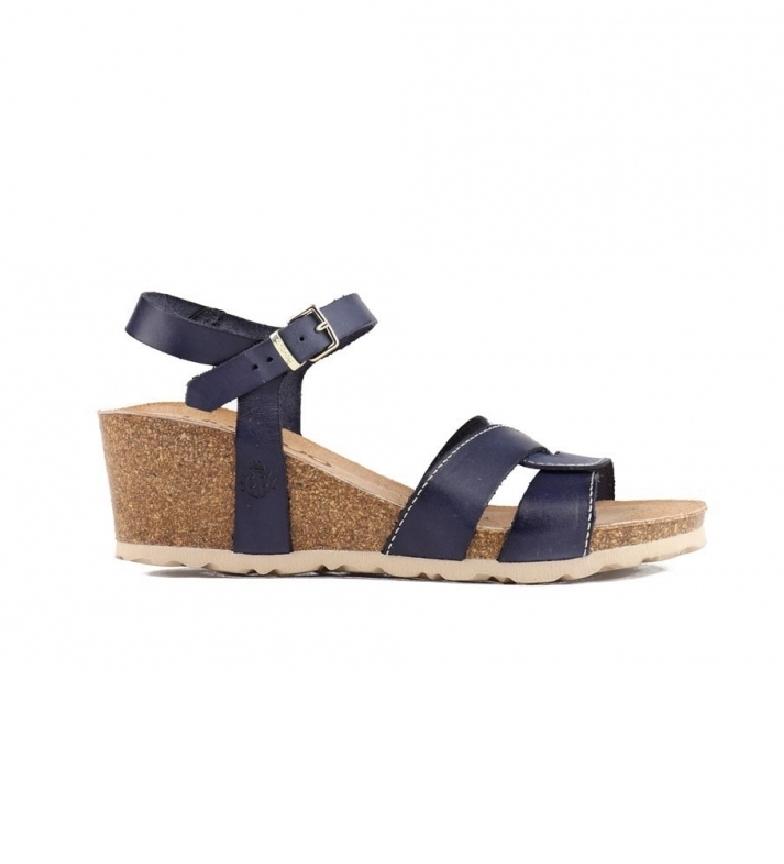 Comprar Yokono Cádiz 121 sandália de couro da marinha -Cunha de altura: 5,5 cm