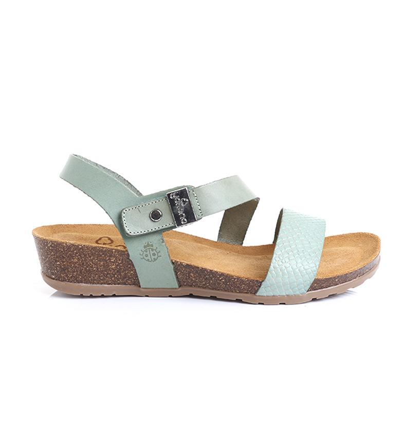 Comprar Yokono Sandali Capri 042 in pelle turchese - Altezza zeppa: 4cm-