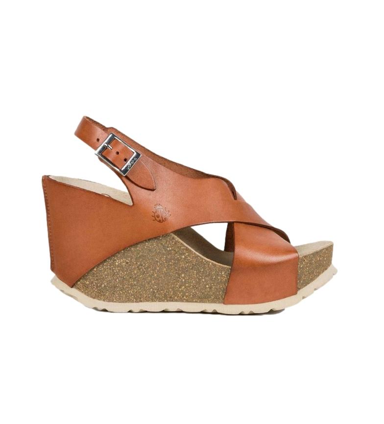 Comprar Yokono Sandálias de couro Corfu 041 castanho -Cunha de altura: 12 cm