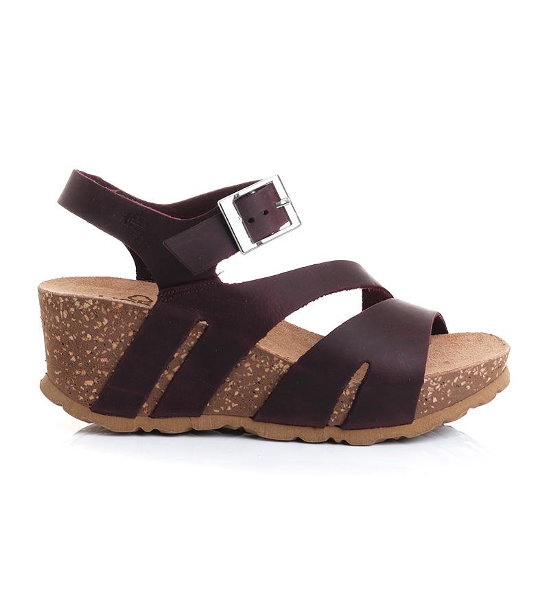 Comprar Yokono Sandálias de couro Bari 002 Borgonha -Cunha de altura: 7 cm