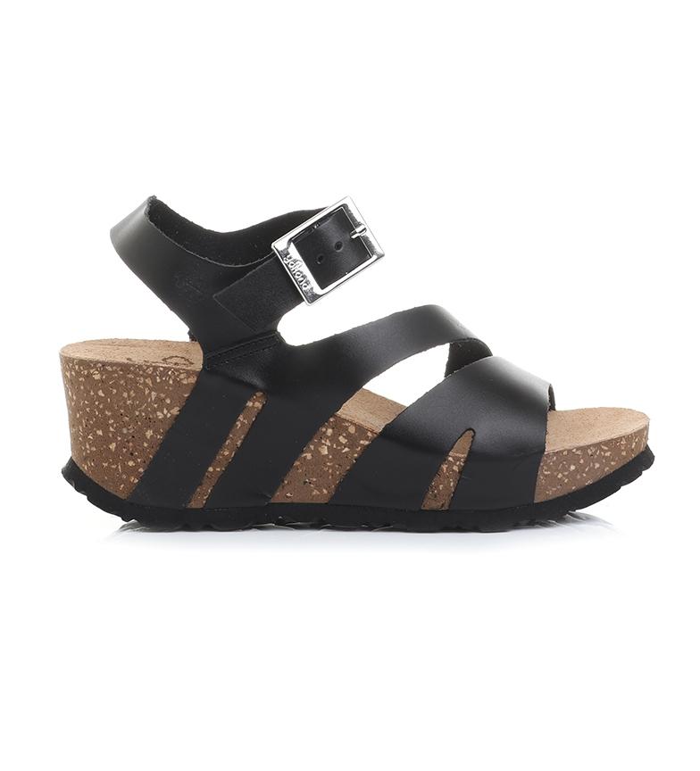 Comprar Yokono Bari 002 sandali in pelle nera - altezza zeppa: 7cm