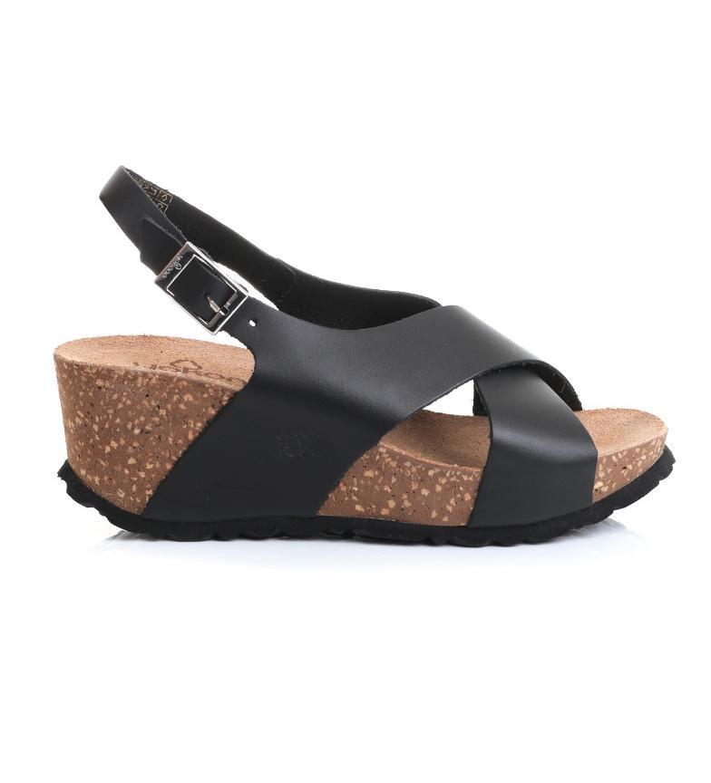Comprar Yokono Sandálias de couro Bari-030 preto -Cunha de altura: 7 cm