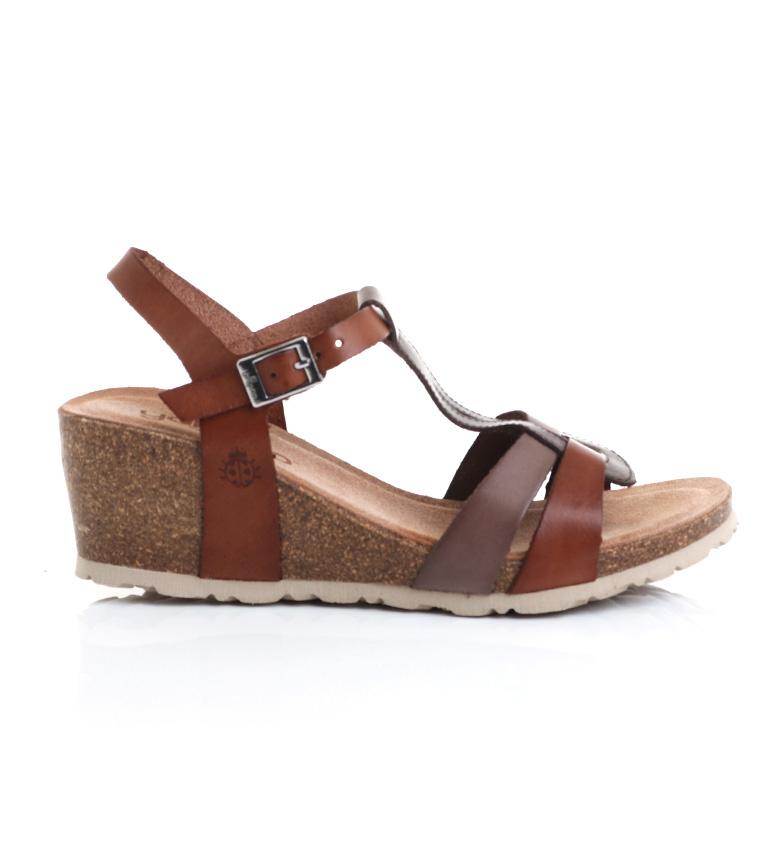 Comprar Yokono Sandálias de couro Cádiz 014 castanho -Cunha de altura: 6 cm