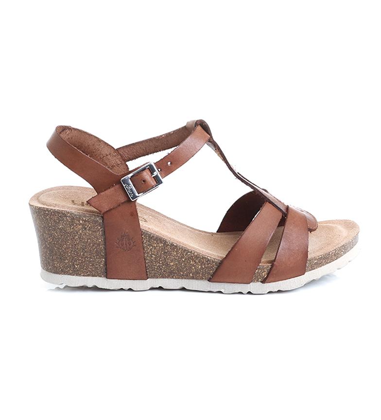 Comprar Yokono Sandalias de piel Cadiz 014 marrón -Altura cuña: 6 cm-