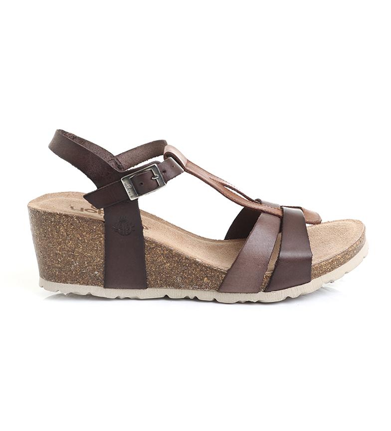 Comprar Yokono Sandalias de piel Cadiz 014 multicolor marrón-Altura cuña: 5.5 cm-