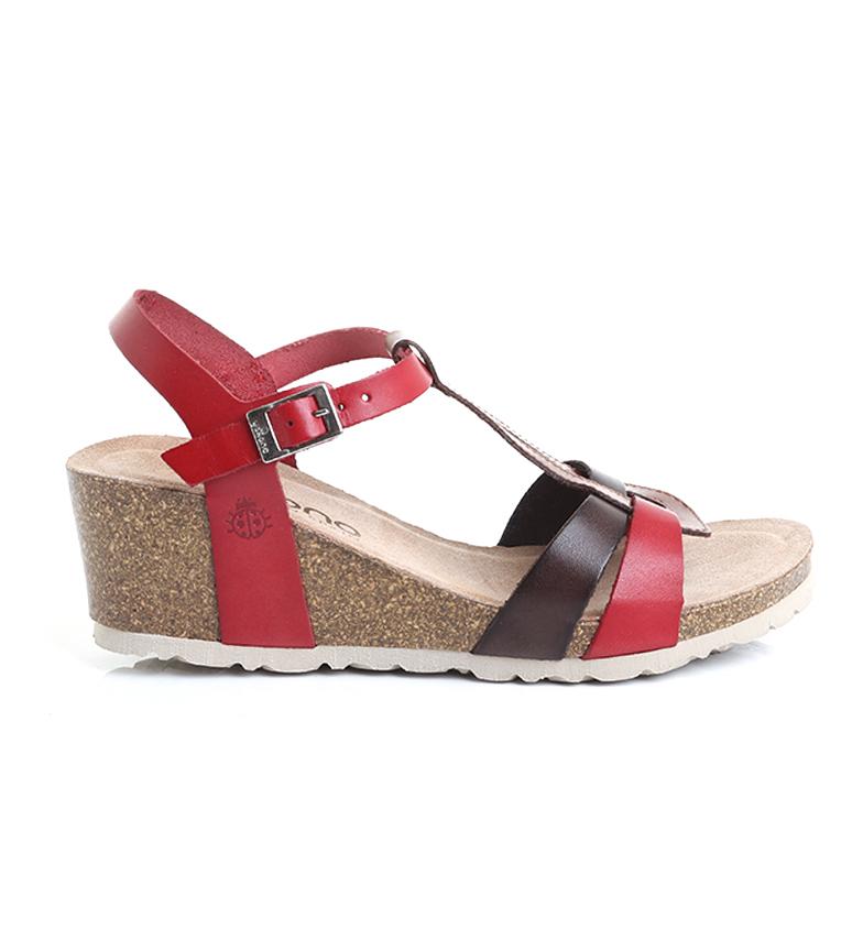 Comprar Yokono Sandali Cadiz 014 in pelle rossa multicolor-Altezza zeppa: 5,5 cm-