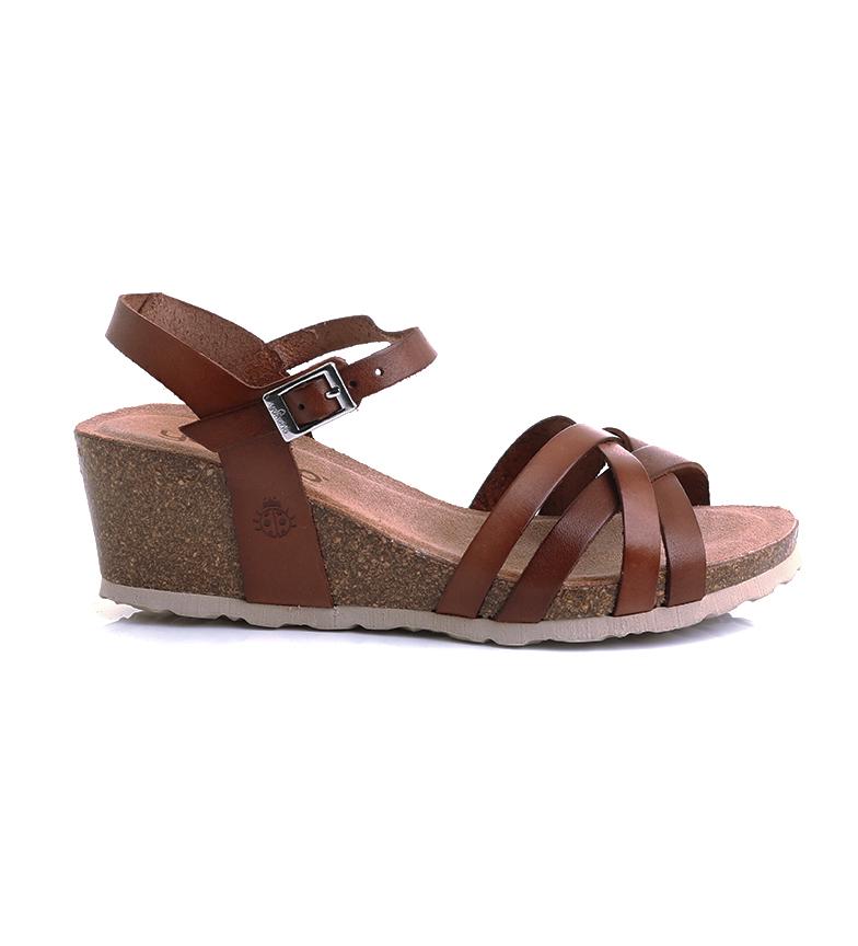 Comprar Yokono Sandalias de piel Cadiz 071 marrón -Altura cuña: 5,5cm-