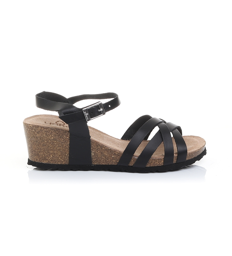 Comprar Yokono Leather sandals Cadiz 071 black - wedge height: 5,5cm