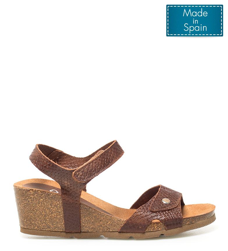 Comprar Yokono Sandalias de piel Cadiz 073 marrón Altura cuña: 5,5cm-