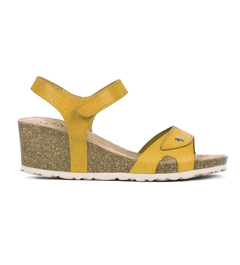Comprar Yokono Sandálias de couro Cádiz 073 Mostarda - Altura da cunha: 6 cm