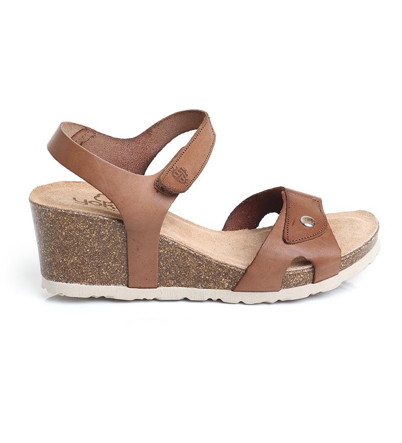 Comprar Yokono Sandalias de piel Cadiz-073 nuez -Altura cuña: 7 cm-