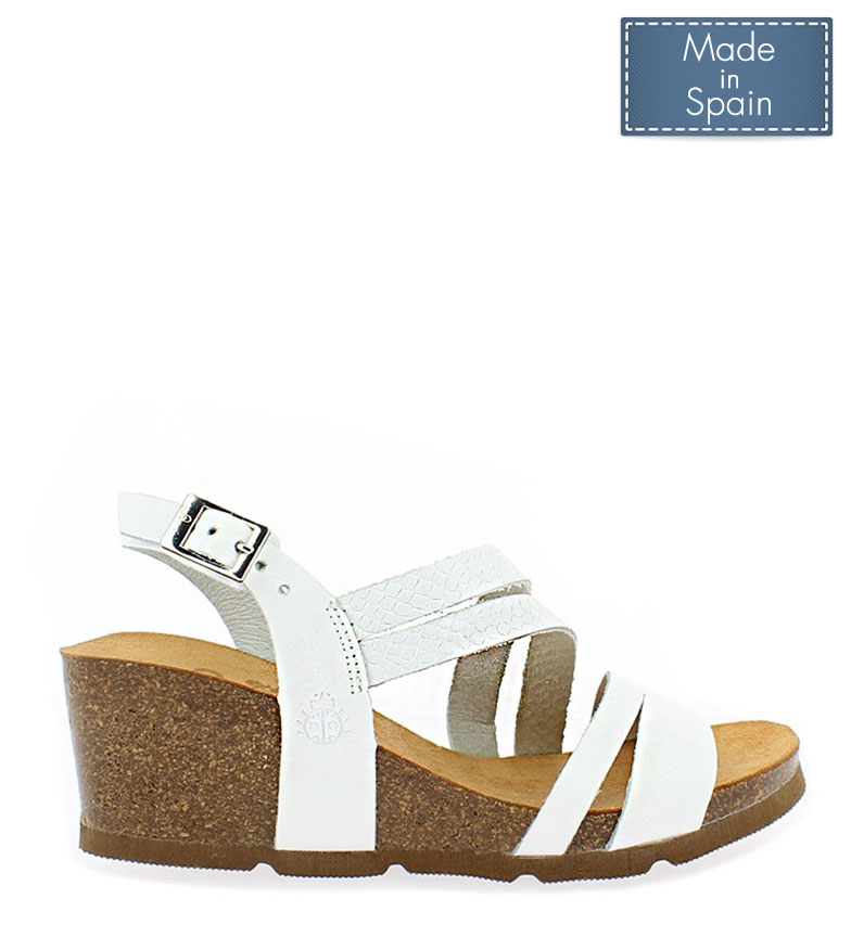 Comprar Yokono Cadiz leather sandals 087 white - Wedge height: 5,5cm
