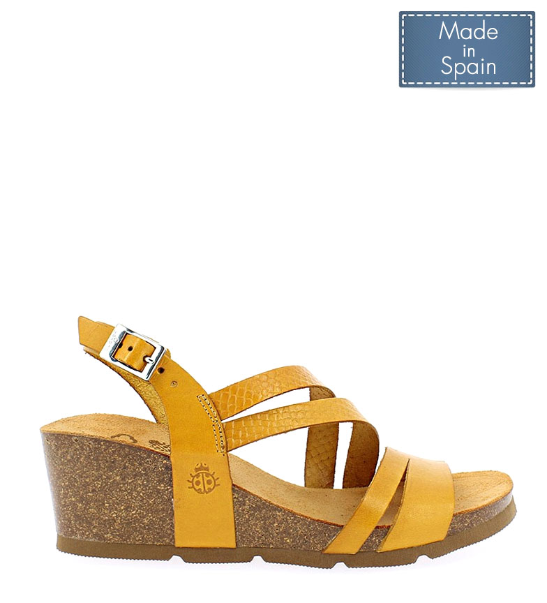 Comprar Yokono Cadiz leather sandals 087 mustard - Wedge height: 5,5cm